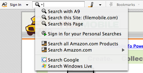 OpenSearch in Amazon A9 toolbar
